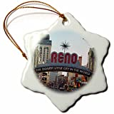 3dRose orn_156496_1 Welcome to Reno, NY Entrance to The City Snowflake Ornament, Porcelain, 3-Inch
