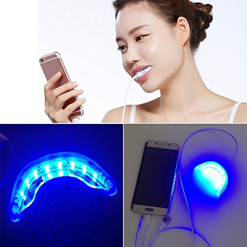 Genkent 16-LED Teeth Whitening Light, 3 Adapter für iPhone, Android & USB (4G NUR IMCOMPATIBLE MIT 3G), zusammen mit Mund Tray