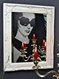 Livitat® Wandspiegel Spiegel Badspiegel barock antik Weiß 50 x 40 cm Landhaus Holz