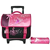 CARTABLE A ROULETTES 38CM + TROUSSES ROSE-CYBEL CHEVAL