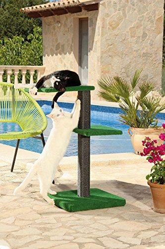 CLEVERCAT Outdoor Kratzbaum Modell Terrasso Funny. Ideal für Terasse oder Balkon, damit Ihr Stubentiger auch an der frischen Luft die Kralle wetzen kann (7430)