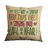 Nunubee Christmas Festival Cotton Linen Pillow Case Cushion Cover Decor Home Sofa Bed Pillowcase A