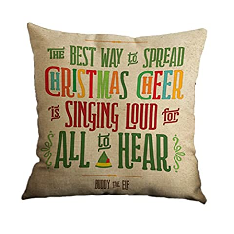 Nunubee Christmas Festival Cotton Linen Pillow Case Cushion Cover Decor Home Sofa Bed Pillowcase A