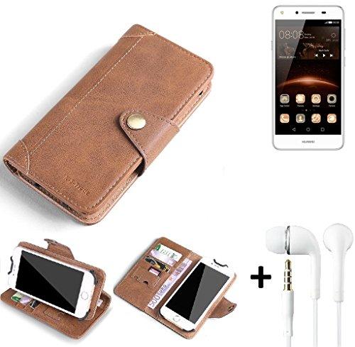 K-S-Trade® Schutzhülle für Huawei Y5 II Single SIM Hülle Tasche Handyhülle Handytasche Wallet Flipcase Cover Handy Tasche Kunsteleder Braun Inkl. in Ear Headphones