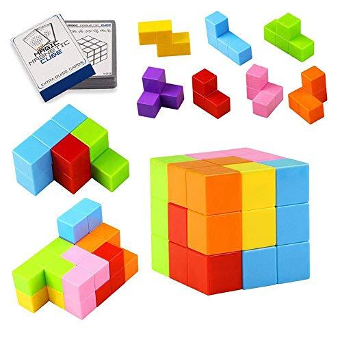 XuBa Quadratische Magnete Würfel magnetische Bausteine Würfelspielzeuge 7 magnetische Ziegel & 54 Smart Cards Puzzles Magnetfliesen Stress Relief Spielzeug Spiele Geburtstag Geschenk für Kinder