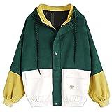 Damen Mantel, Lonshell Cord Farbe Patchwork Windbreaker Oversize Jacke Frühling Mantel (M, Grün)