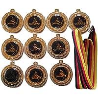 10 GoKart-Medaillen mit blauen Emblemen, Deutschland Bänder und 3 GoKart-Stickern
