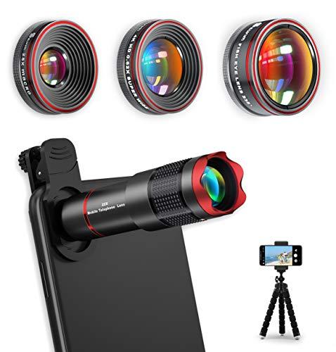 Handy Objektiv Kamera Linse Kit, 4 in 1 Universal 22X Zoom Teleobjektiv + 0,62X Weitwinkel + 25X Makro + 235° Fisheye mit Stativ für IOS und meisten Android Smartphone