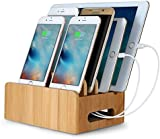 Merit Bamboo Multi-device Cords Organizer Stand and Charging Station Docks for Smart Phones and Tablets