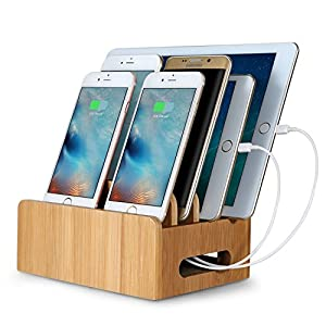 Merit Bamboo Multi Device Cords Organizer Stand And