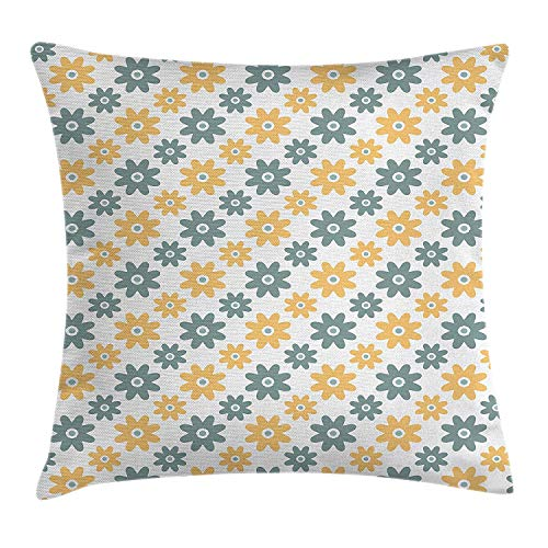 Garden Decor Throw Pillow Cushion Cover, Lively Cute Wildflowers Daisies Retro Fashion Spring Nature, Decorative Square Accent Pillow Case, 18 X 18 Inches, Almond Green Apricot Mustard -