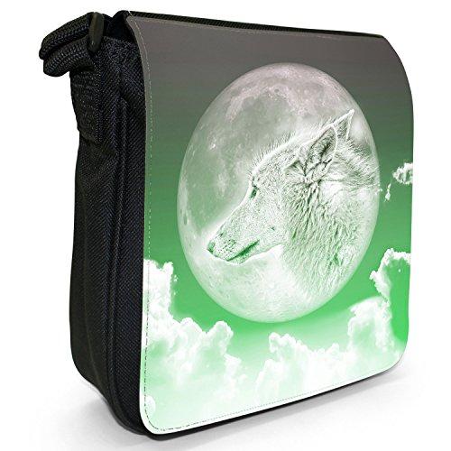 Luna lupo piccolo nero Tela Borsa a tracolla, taglia S Moonlight Wolf - Green