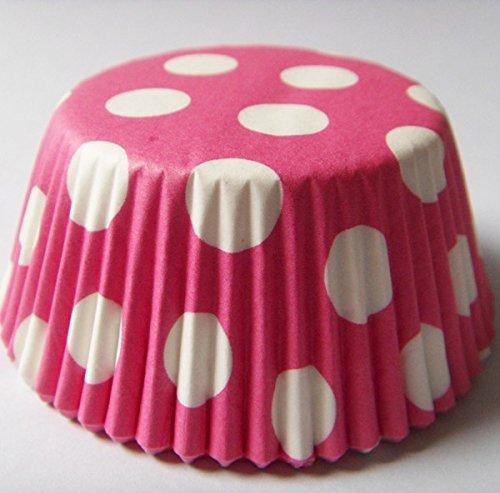 Lucky-Star Pink Polka Dot Print Muffin Cupcake Liners Papier Fall Geburtstag Backförmchen 500Pcs, Standard Größe 7,6cm