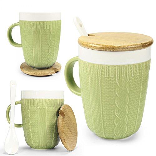 Tasse in Strickoptik mit Keramik Löffel & Echt-Holz Deckel - für optimale Thermoeigenschaften von Urhome® I Deckel als Untersetzer I Tee-Tasse Kaffeetasse Frühstück Kaffee-Becher Mug Grün