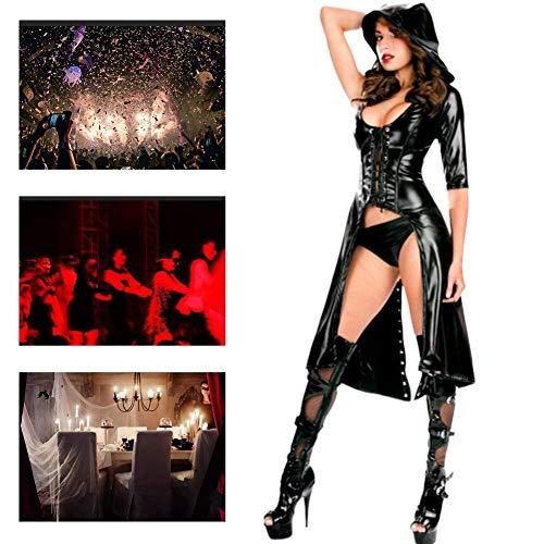 JH&MM Halloween Kostüm Damen Lackleder Sexy Mantel Queen Devil Witch Masquerade Kostüm (Masquerade Kostüm Für Damen)