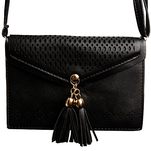 CellularOutfitter Fringe Tassel Shoulder Bag - Envelope Style, Laser Cut Design, Detachable Strap - Black (Medium Tote Tassel)