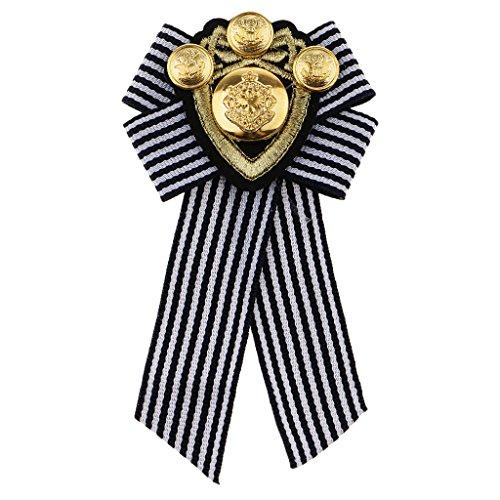 Homyl Schleife form Herren Abzeichen Kleidung Mode Kostüm Brosche, Anzug Accessoire - Schwarzer Streifen - Britische Streifen-krawatte
