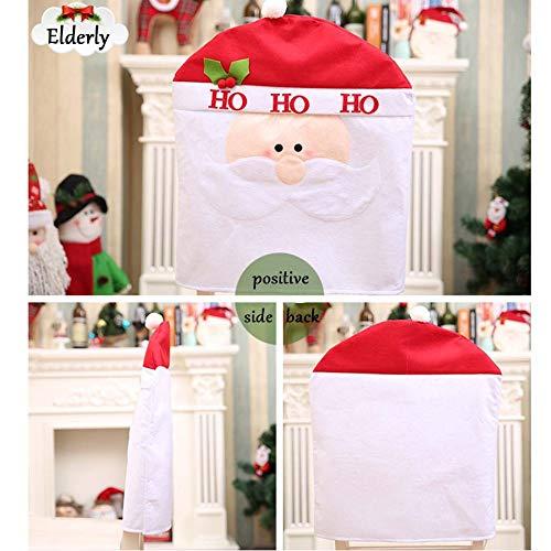 SPFAZJ Weihnachten Dekoration Weihnachten Tischdekoration Weihnachten Cartoon Stuhl setzt Hüte Weihnachten Geschenke Weihnachten Große Stuhlabdeckung