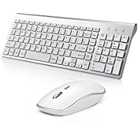 Wireless Keyboard and Mouse, 2.4Ghz Slim Wireless Keyboard with Numeric Keypad,Silent Mouse 2400DPI for PC, Desktop, Computer,Laptop, Windows(UK layout) by JOYACCESS Silver + White