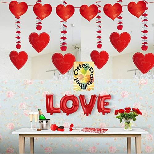 (HHO Verlobung Liebe Heiratsantrag Valentins-Tag Großes Deko-Set Girlanden Konfetti Ballons viel Deko)