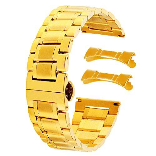 Mens 22mm Edelstahlband Armband Ersatz Mode Gold Stahl-Uhr
