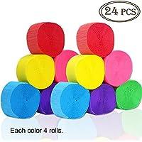 Outuxed 24 Stück Krepp Papier Kreppbänder 6 Farben für Verschiedene Geburtstagspartys Hochzeitsfeiern und andere Feste