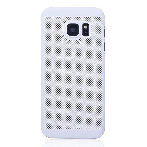 iProtect Samsung Galaxy S7 Hard Case - transparent edles orientalisches Design in Weiss Hollow Mesh S7 weiss