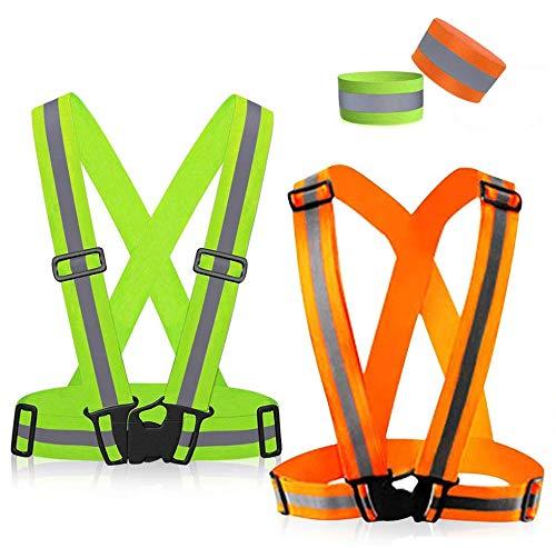 Mmtx riflettente gilet catarifrangente visibilita ad alta visibilità giubbotto riflettente di sicurezza regolabile con per il ciclismo, per jogging,notturna,motociclismo,passeggiate.