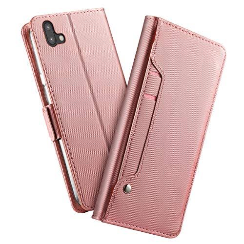 futypei für Fujitsu Arrows U 801FJ Hülle, Slim Leder Flip Case [Stoßfest] [Kartensteckplatz] Magnetisch Ledertasche Handyhülle Schutzhülle Tasche Brieftasche Etui für Fujitsu Arrows U 801FJ Rose Gold