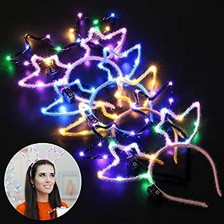 Bageek 6PCS Diadema navideña Linda de la Historieta LED Cadena Luz Aro del Pelo Aro Diadema