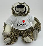 Peluche paresseux personnalisé avec un T-shirt J'aime Loana (Noms/Prénoms)