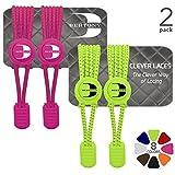 BERTONY Clever Laces #1 Running Elastische Schnürsenkel mit Schnellverschluss, Runde Reflektierende Gummi Schuhbänder, Kinder & Erwachsene, Hot Pink / Neon Yellow