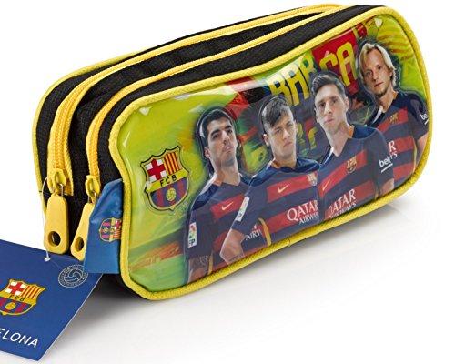 Tasche Fußball-messi (Offiziell lizensiertes ORIGINAL FC Barcelona Lionel Messi, Neymar und andere Spieler Bilder Federmäppchen / Schlampermäppchen mit 2 Taschen (!!) – lizensierter FC Barcelona Fanartikel)