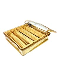 Premium Quality Golden Brocade Bangle Box/Bangle Case/kit Organizer -4 ROD- (25 X 26 X 7 Cms)