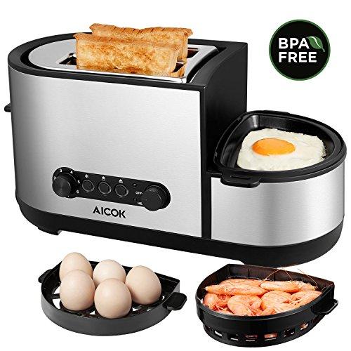 Aicok Toaster, Multifunktional Doppelschlitz Brötchenaufsatz mit Eierkocher und Elektrische Pfannen, 3 in 1 Automatik Toaster mit 7 Bräunungsstufen, 2 Scheiben Toaster, 1250W, Edelstahl, Silber (Eierkocher-toaster)