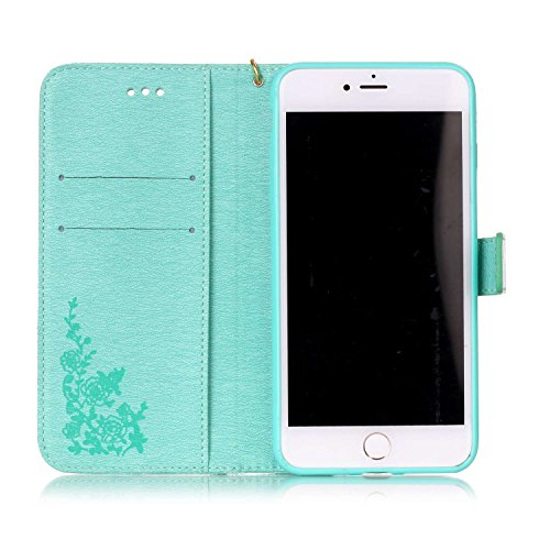 Etsue iPhone 7 Plus Coque,Premium Folio Cuir Fleur Motif Gravée Relief Portefeuille avec Cordon Lanyard Housse pour iPhone 7 Plus,Support Flip PU Leather wallet Case Cover pour iPhone 7 Plus,Smart de  Vert