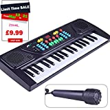 Kids Piano Toys, Sayeec Educational Toy 37 Key Multi-function Electronic Organ Musical Keyboard Play Piano with Microphone for Children Powered by Battery (Not Included)
