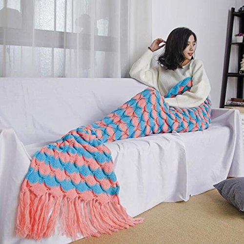 """jiazugo sirena coda coperta uncinetto e adulti sirena coperta, coperta morbida sonno per 4stagioni 190x 90cm """", Orange red, (180-190)*90cm"""