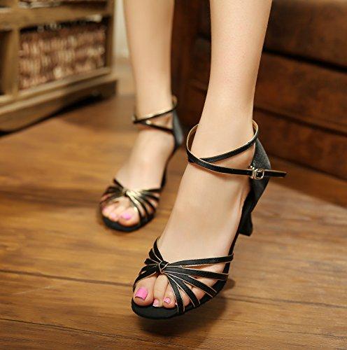 XPY&DGX Latino nero scarpe da ballo, donne adulte in scarpe da ballo, piazza moderna scarpe da ballo, soft estate tacchi, 10 215MM