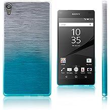 Xcessor Transition de Color Funda Carcasa Para Sony Xperia Z5 Premium. Flexible TPU Gel Gradient Hilo De Seda Textura. Transparente / Azul Claro