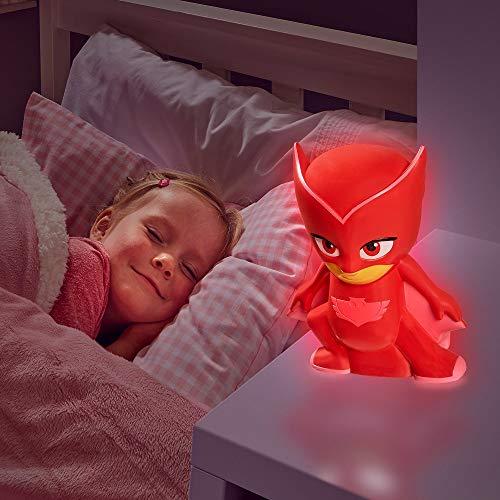 PJ Masks 2 in 1 Nachtlicht + Taschenlampe Nachttischlampe Lampe Owelette Catboy Gecko (Rot - Owelette)