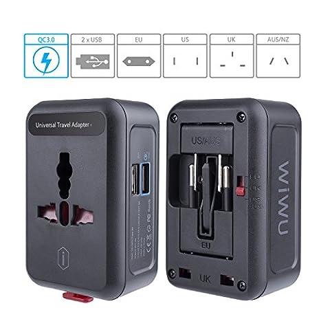 QC3.0 Universal Reiseadapter mit 2-Port USB Ladegerät, EKOOS Reisestecker Adapter 3 Polig 4 in 1 für 150 Länder Weltweit (Erweiterte Sicherheitssystem)