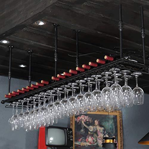 HLDLO Stemware Rack Decke hängen Weingläser Rack Bronze schwarz kohlenstoffarmen Stahl hängen Rack schwimmende Wäscheständer Kleiderbügel industrielle Lagerschränke (Color : Black, Size : 180×30cm)