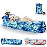Waitiee Aire Sofá inflable portátil, Lounger inflable impermeable al aire libre con almohada integrada, Ideal sofá cama para camping, piscina, playa y patio trasero (Azul)