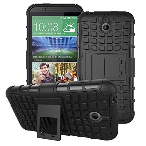 HTC Desire 510 Hülle, SsHhUu Premium Rugged Stoßdämpfung & Staubabweisend Kompletter Schutz Hybrid-Koffer mit Ständer Telefon Kasten für HTC Desire 510 4.7 Zoll (Schwarz) 510 Htc Telefon-kästen