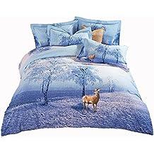 Todos los tamaños 'wonderland Cartoon patrón de cebra juego de cama rojo juego de funda de edredón y funda de almohada suave y acogedor adultos juego de cama, algodón, blue 2, CN King
