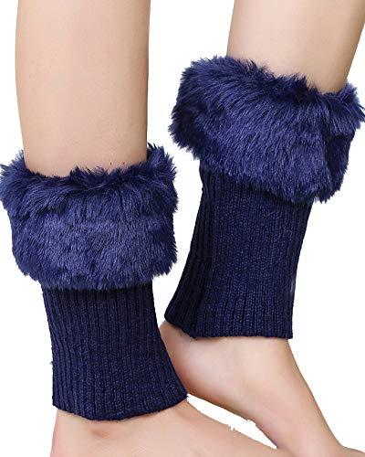 Faux Pelz Bein Wärmer Socken Stiefel Frauen Bein Knit Stiefelsocken Cuff Marineblau