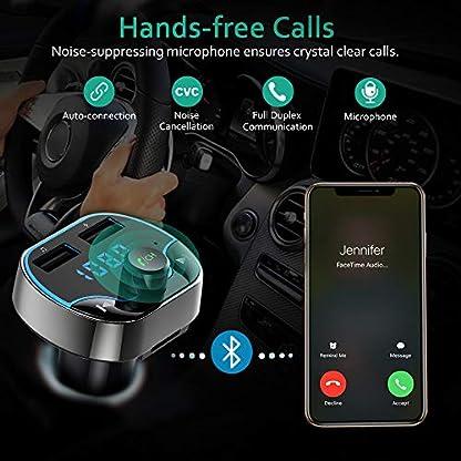 Cocoda-FM-Transmitter-Auto-Bluetooth-Kabelloser-MP3-Player-Radio-Adapter-Car-Kit-mit-Dual-USB-Ladeanschlssen-5V24A-und-5V1A-Untersttzt-die-Freisprecheinrichtung-TF-Karte-USB-Stick