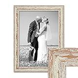 Bilderrahmen 30x42 cm / DIN A3 Weiss Shabby-Chic Vintage Massivholz mit Glasscheibe und Zubehör / Fotorahmen / Nostalgierahmen