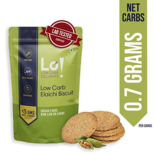 Lo! Foods - Keto Elaichi Biscuit | Only 0.7 g Net Carb Per Cookie | Lab Tested Keto Food Products for Keto Diet | Nutritious Keto Cookies and Snacks -192 g